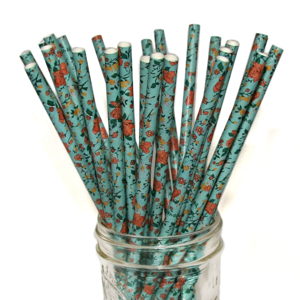 Antique Blue Floral Paper Straws 25pcs