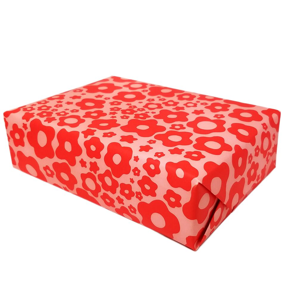 Roll of Red Pink Mod Floral Gift Wrapping (3 Sheets)