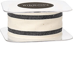 "Black Wide Striped 1.5"" Cotton Ribbon"