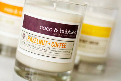 Coco & Bubbles - HAZELNUT COFFEE Soy Candle in 13 oz Glass Jar