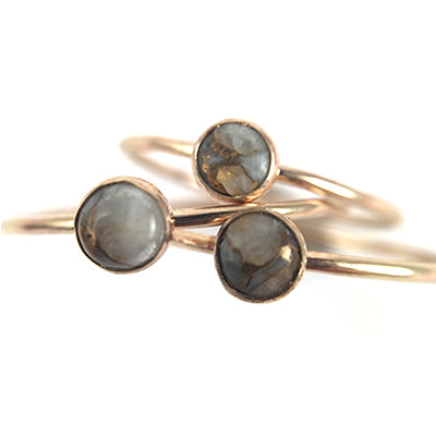 Mineral and Matter - Copper Calcite Ring (Silver)