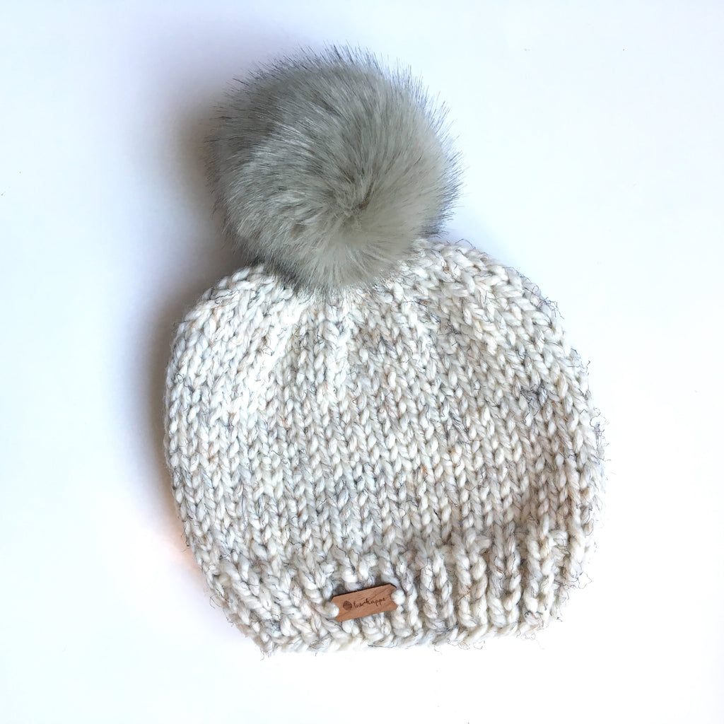Wheat Knit Hat with Grey Faux Fur Teen/Adult