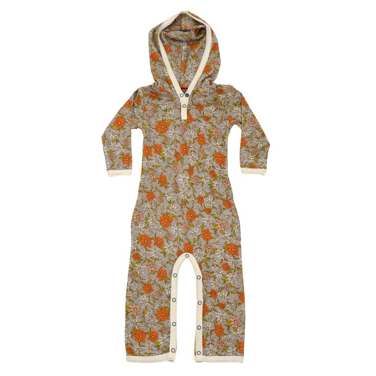 Hooded Romper Grey Floral