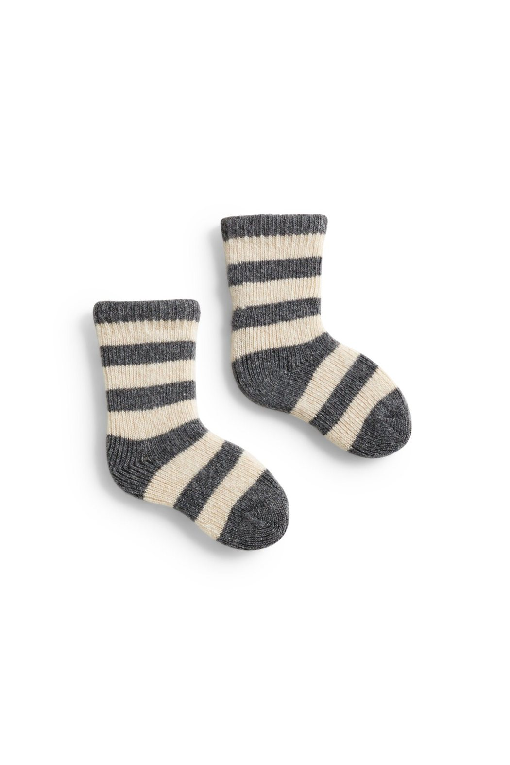 Heather Grey Baby Rugby Stripe Wool + Cashmere Socks