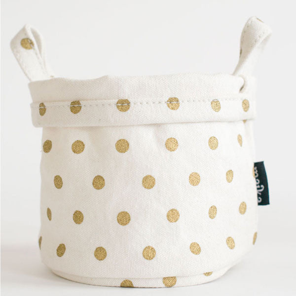 Metallic Gold Dots Recycled Canvas Bucket