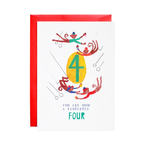 4th Birthday Four Mischievous Monkeys Greeting Card