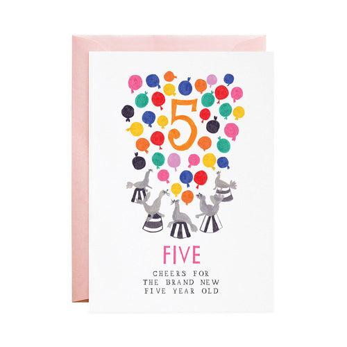 5th Birthday Five Silly Seals Greeting Card