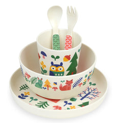 Forest 5pc Bamboo Dinnerware Set