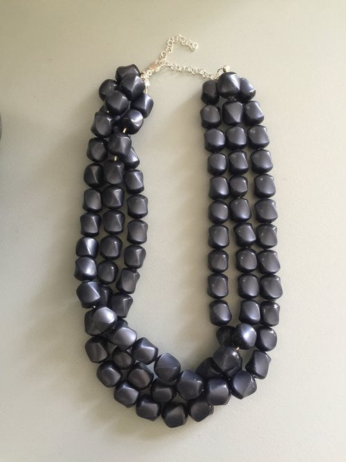 Vintage Charcoal Grey Moonglow Multi Strand Beaded Necklace