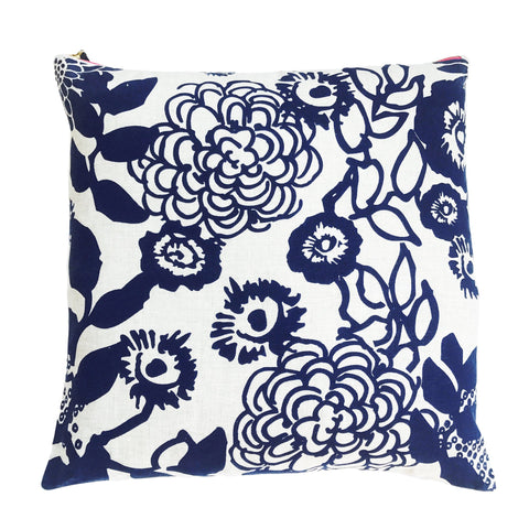 "Navy Floral Garden Pillow on Linen (20"" x 20"")"