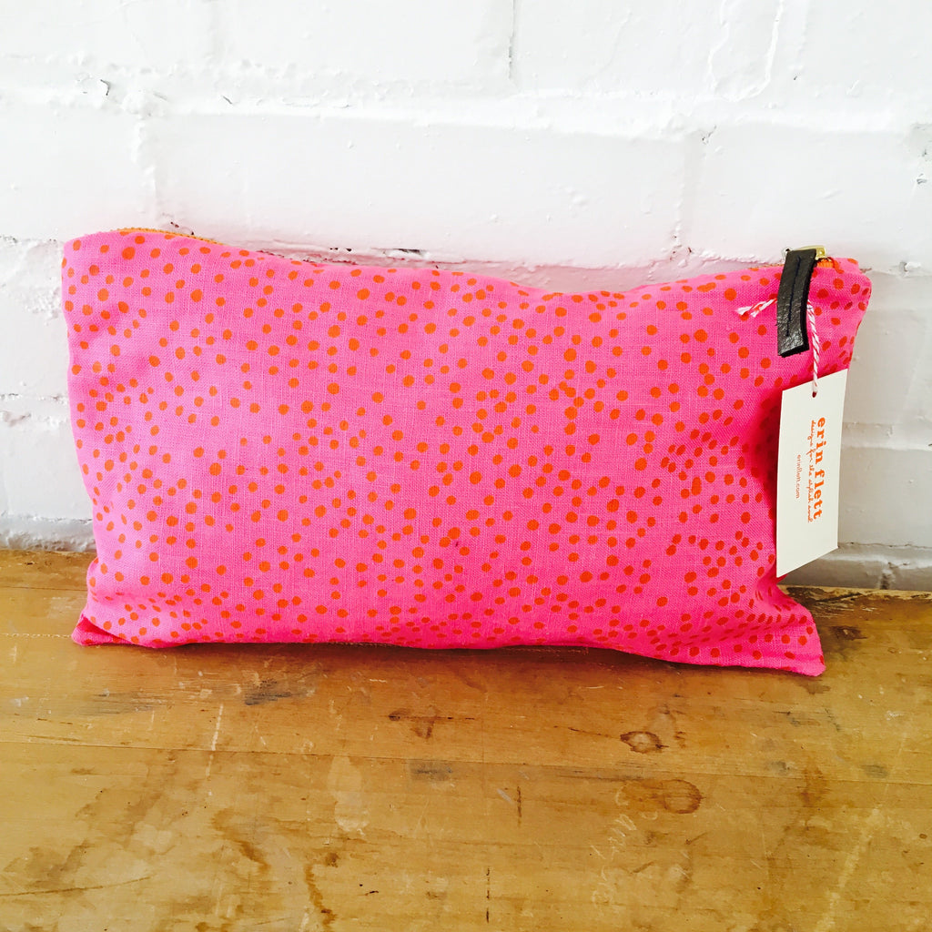 Mango Polka Dot on Hot Pink Linen Clutch