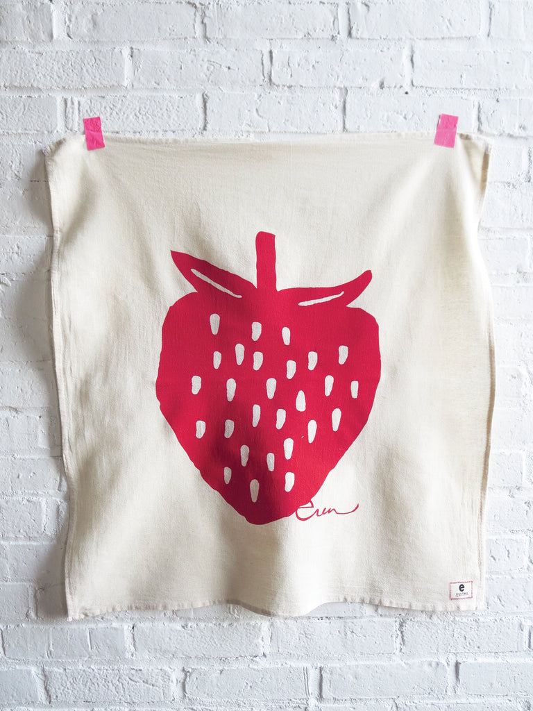 Red Strawberry Tea Towel