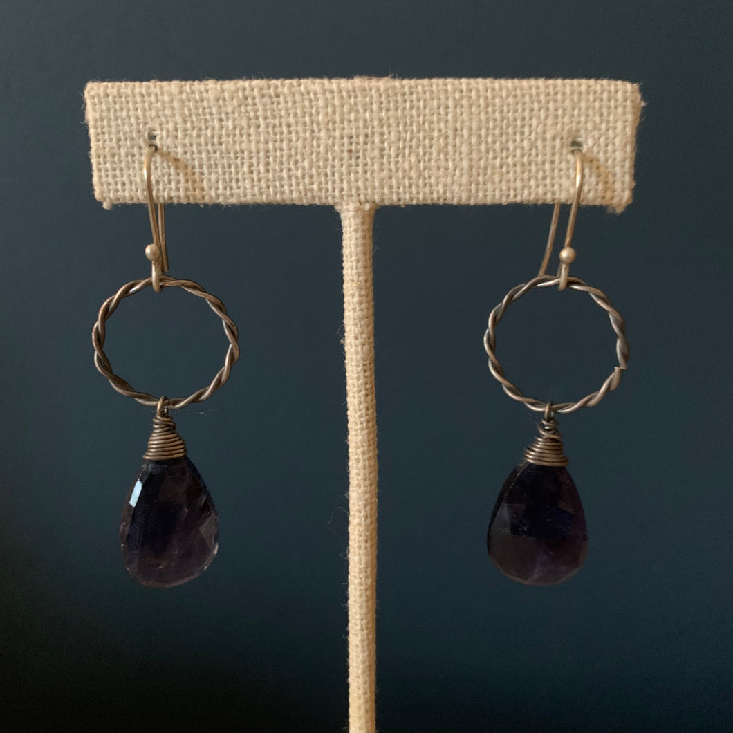Teardrop Lolite Earrings Oxidized Silver