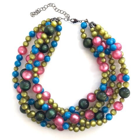 Holiday Moonglow Sylvie Necklace. Vintage Lucite Beads