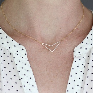 Little Arrow - Chevron Style Arrow Necklace :: silver or gold