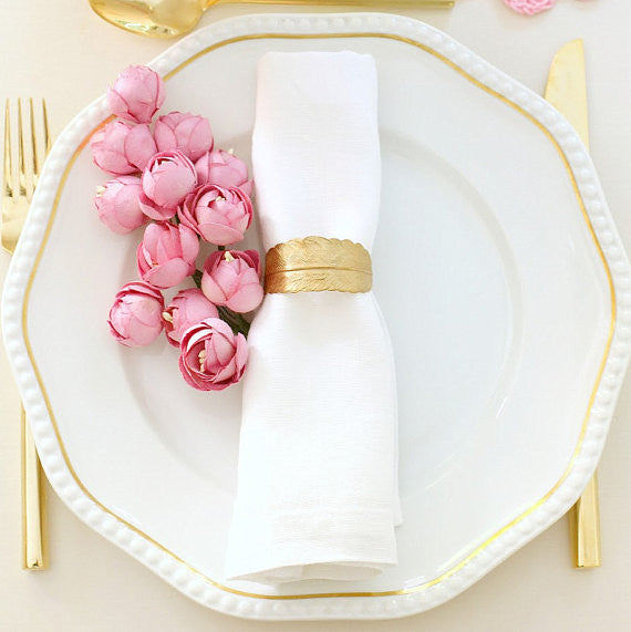 Golden Feather Napkin Rings, Set of 4