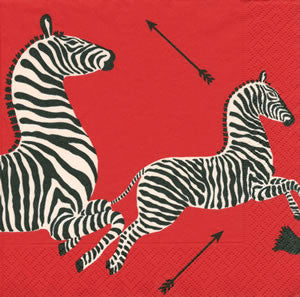 Red Zebra Paper Cocktail Napkin