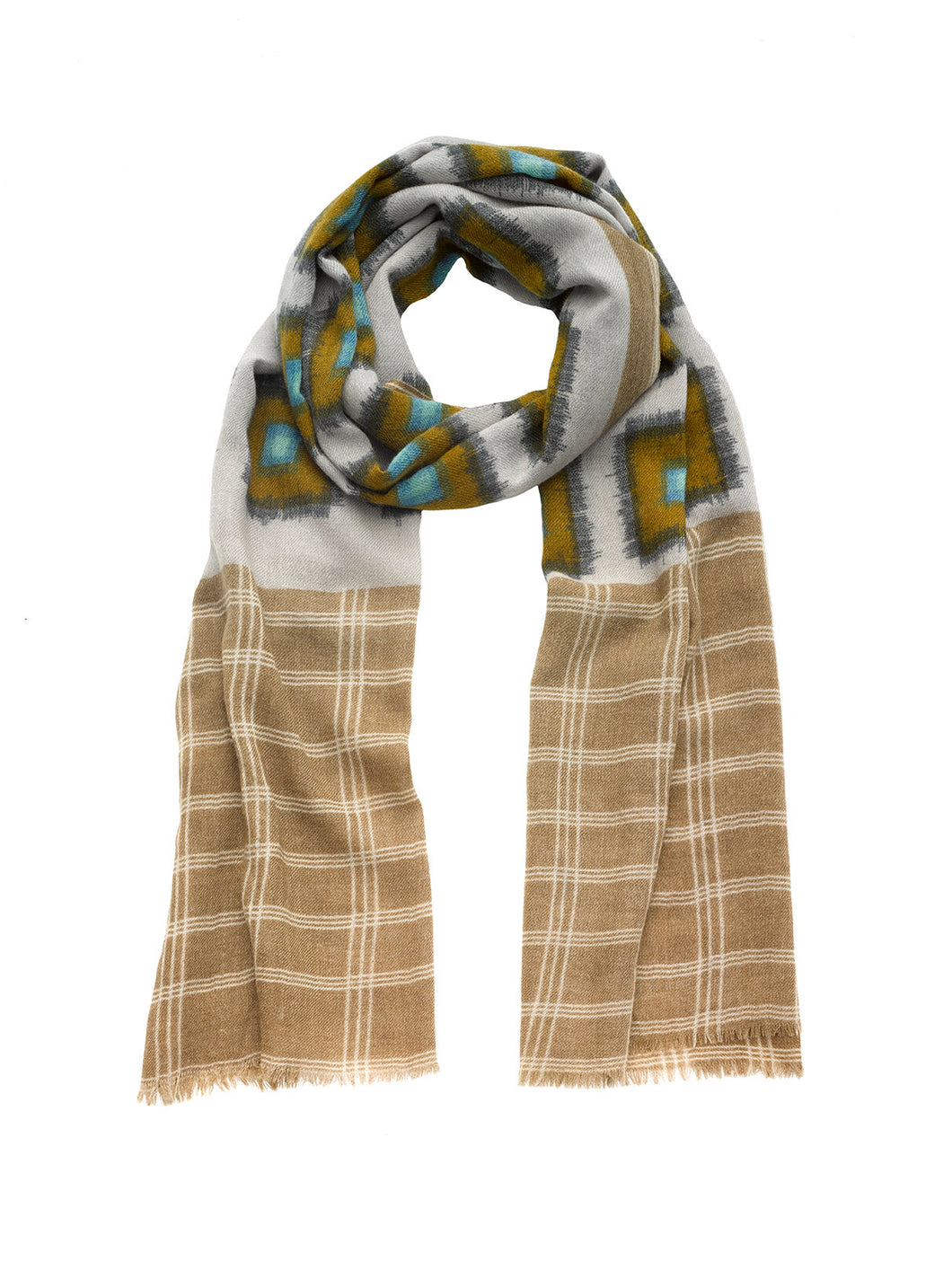 Ikat Check Wool Scarf