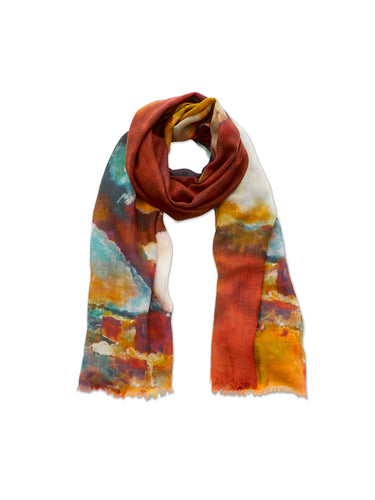 Abstract Painterly Blue and Brown Wool Scarf