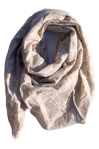 Nibha Square Scarf, Soft Gray