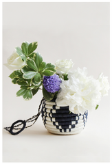 Hanging Flower Pot, Navy + White