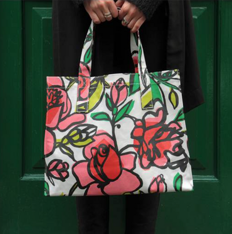 Floral Oil Cloth Tote