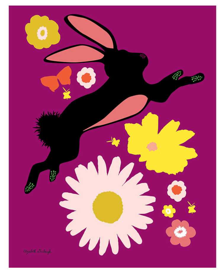 Leaping Rabbit Print :: framed or unframed