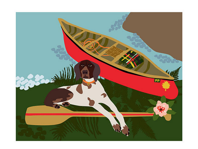 Dog & Canoe Notecard