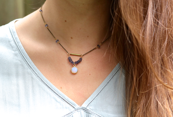 Moonstone + Iolite Crystal Ball Necklace