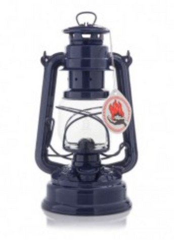 "Cobalt Blue Hurricane Oil Lantern. 10""  Made in Germany."