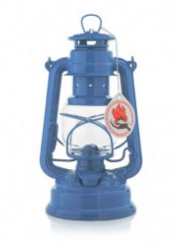 "Brilliant Blue Hurricane Oil Lantern. 10""  Made in Germany."