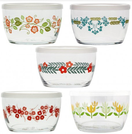 Vintage Flower Storage Bowls, Set of 5