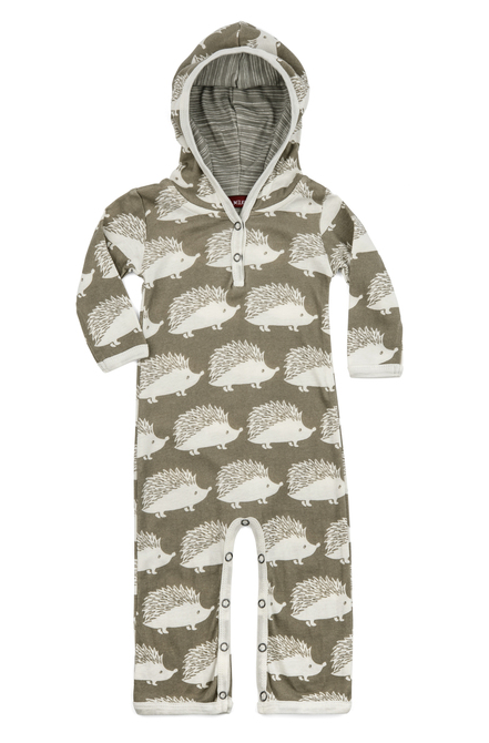 Hooded Romper Grey Hedgehog