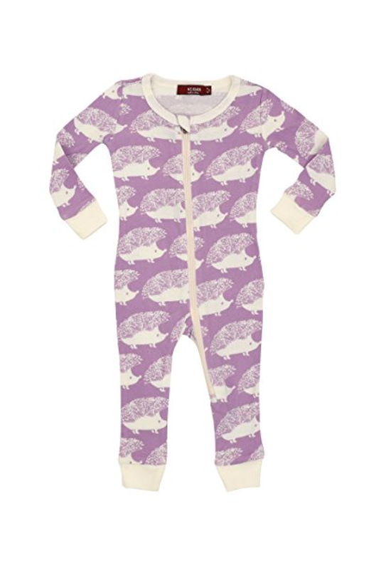 Organic Cotton Zipper Romper Pajamas, Lavender Hedgehog