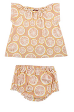 Organic Cotton Dress & Bloomer Set, Grapefruit