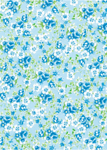 Blue French Floral Decopatch Paper