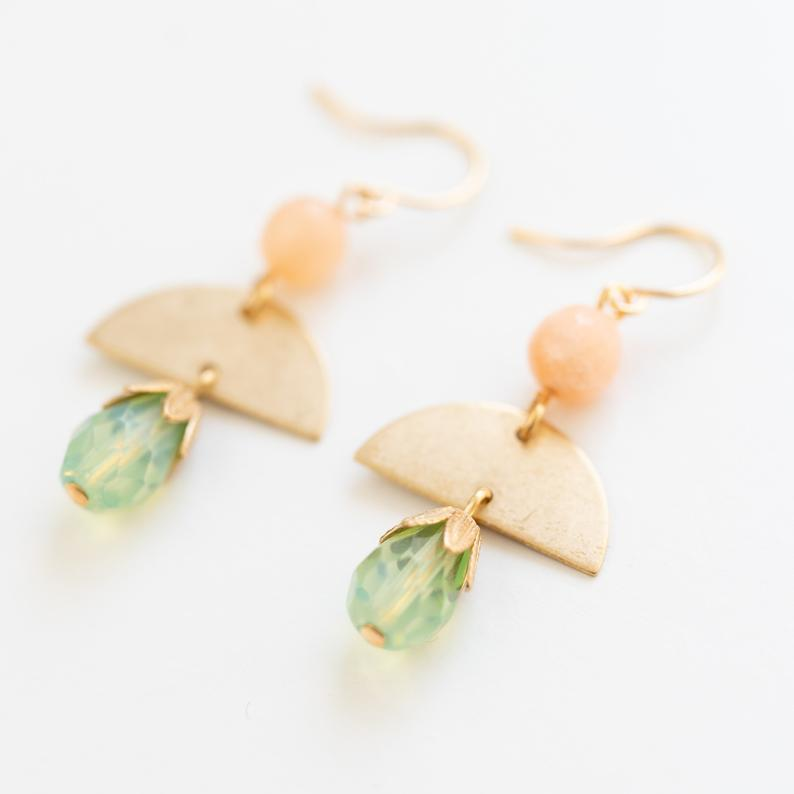 Small Coral and Brass Earrings