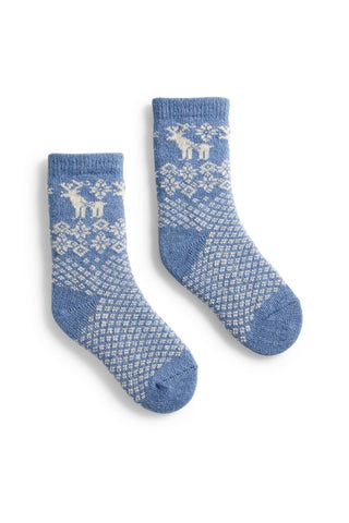 Chambray Reindeer Toddler Wool + Cashmere Socks