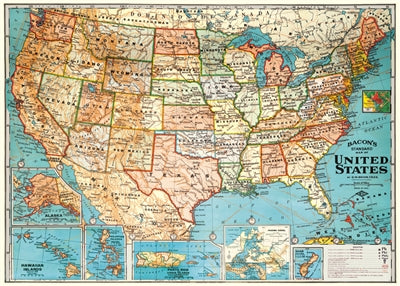 United States Map Poster Or Wrap The Gold Trout