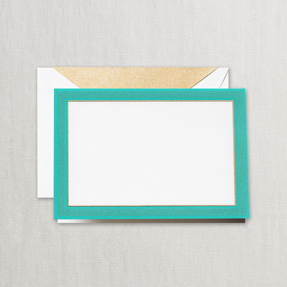 Hand Engraved Teal Fine Lines Frame Note