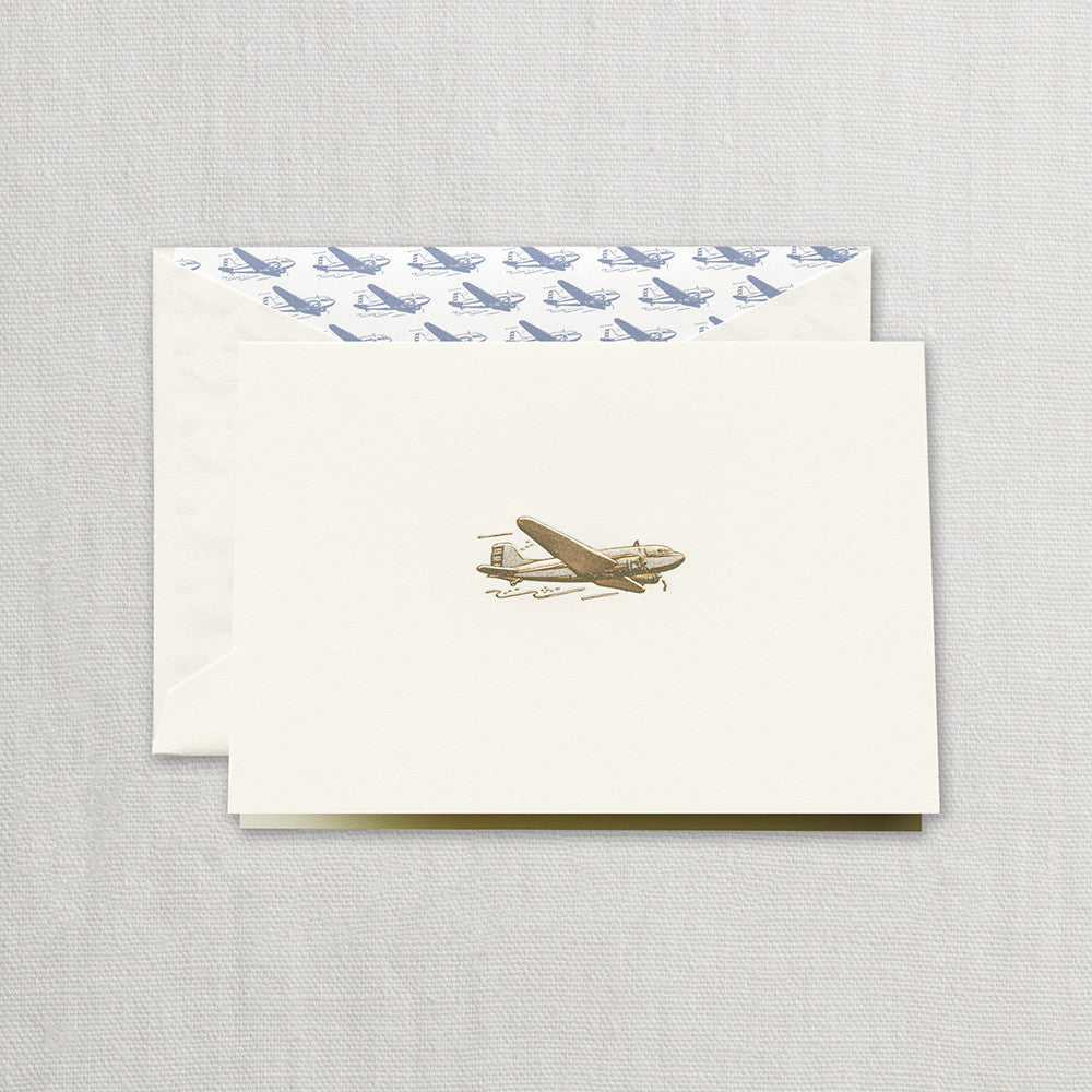 Engraved Vintage Airplane Note Card