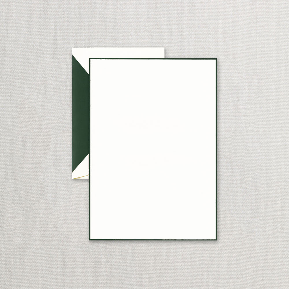 Hunter Green Bordered Pearl White Half Sheet Writing Paper