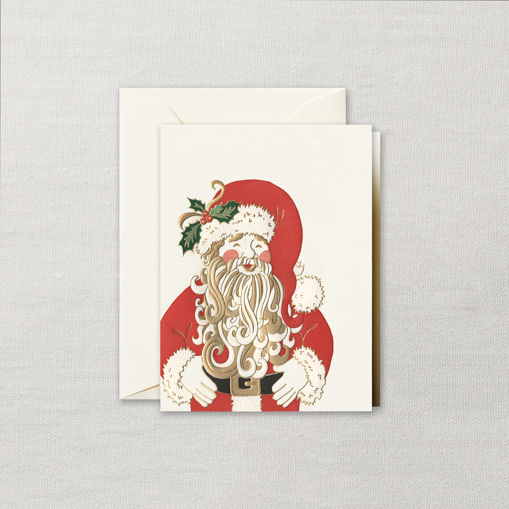 Engraved Jolly Santa Gift Enclosure Card