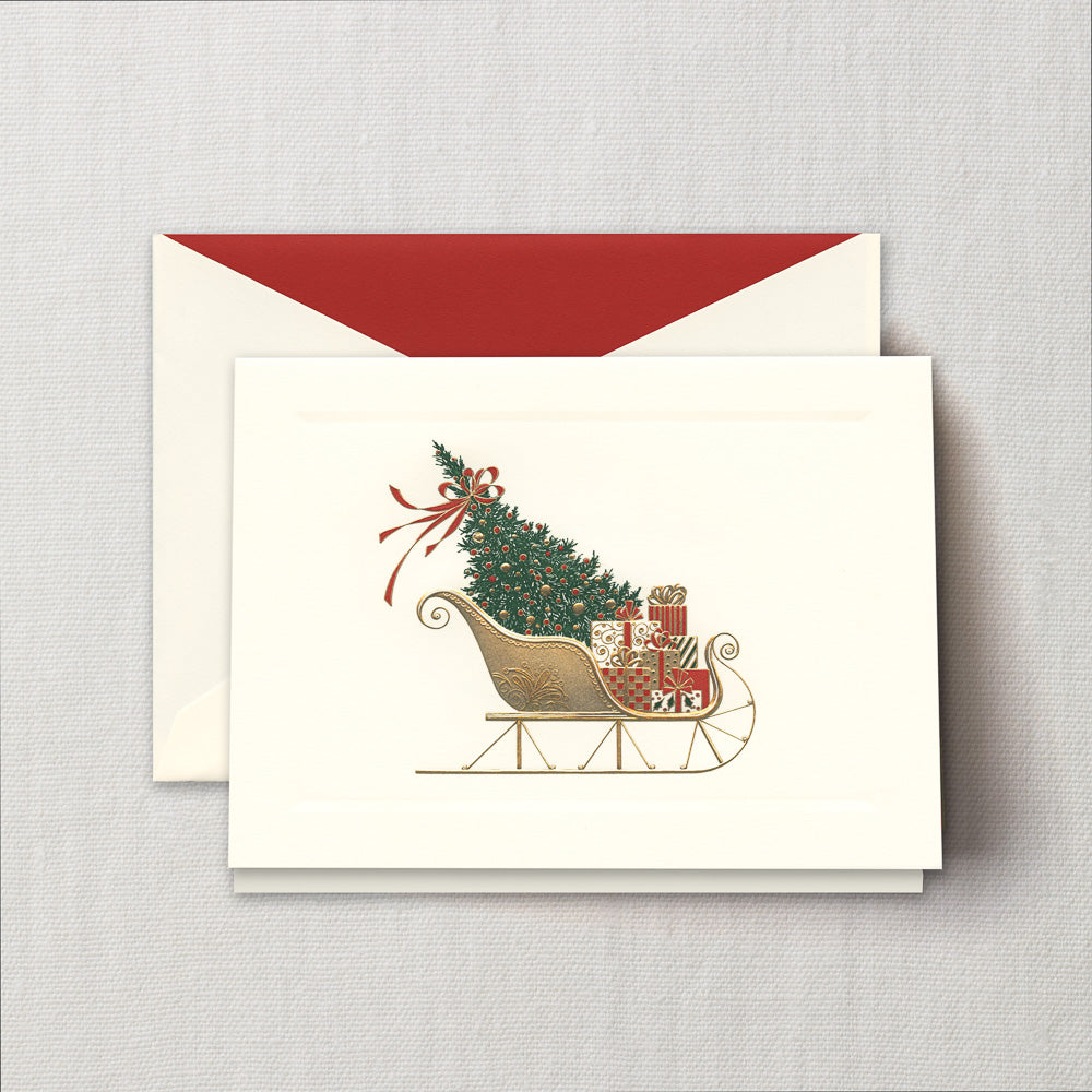 Engraved Santa's Sleigh Greeting Card