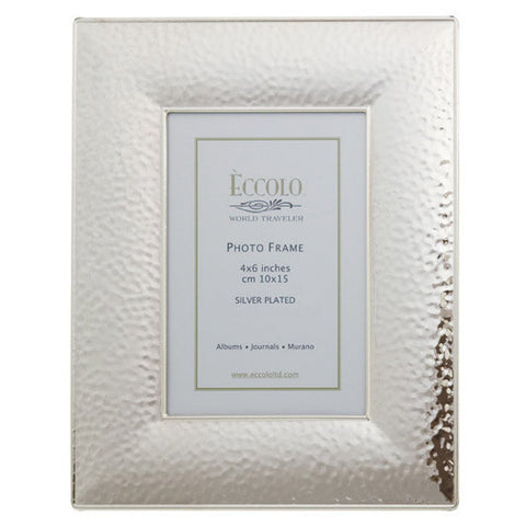 "Hammered Frame, Silver Plated 4"" x 6"""