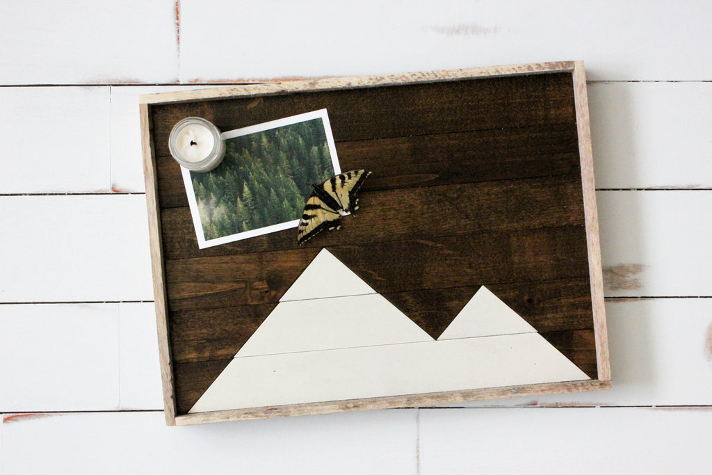 Large Mountain Reclaimed Wood Tray (White)