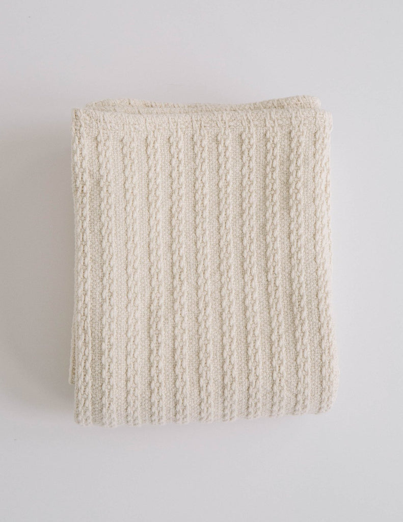 Natural Cable Knit Baby Blanket