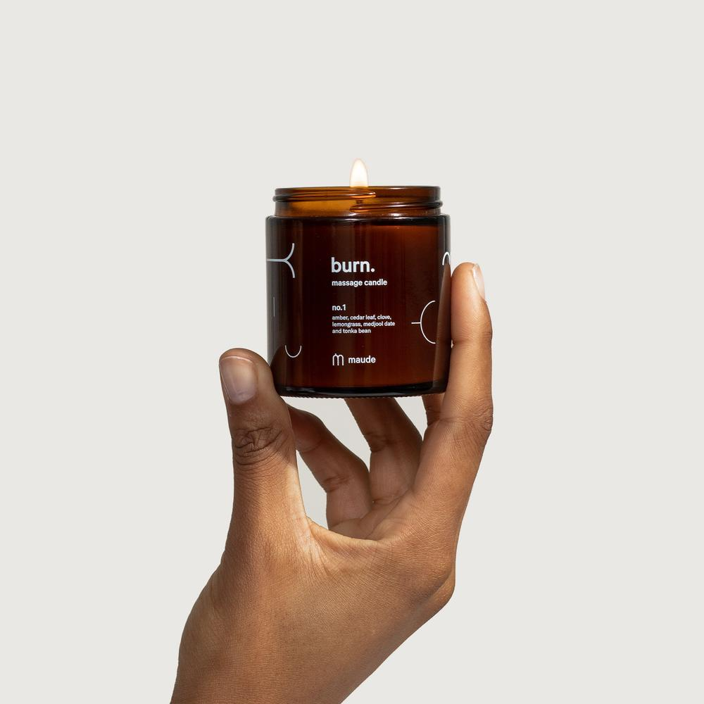 burn no. 1 skin-softening, jojoba oil-based massage candle