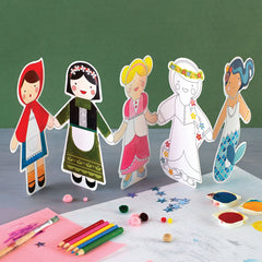 Fairy Tales Paper Doll Chain Craft & Color