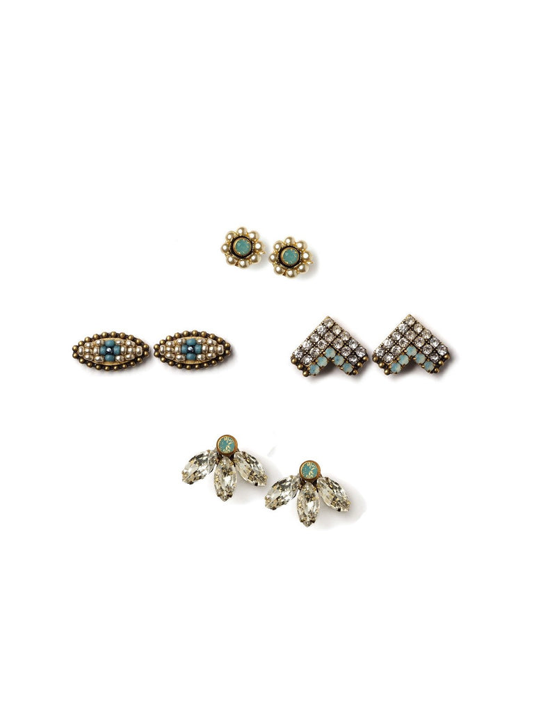 Sparkle With Blue Stud Earrings
